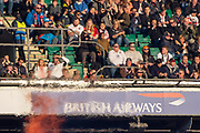 Twickenham, United Kingdom, Saturday, 17th  November 2018, RFU, Rugby, Stadium, England,  spectators, hidden in the vapors, of the Pyro'e, Pyrotecnics, before the start,Quilter Autumn International, England vs Japan, © Peter Spurrier