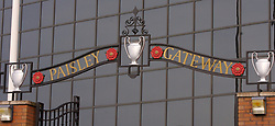 LIVERPOOL, ENGLAND - Saturday, January 26, 2008: Liverpool's Paisley Gateway, a tribute to former manager Bob Paisley, the most successful coach ever in English football, outside the famous Spion Kop before the FA Cup 4th Round match at Anfield. (Photo by David Rawcliffe/Propaganda)