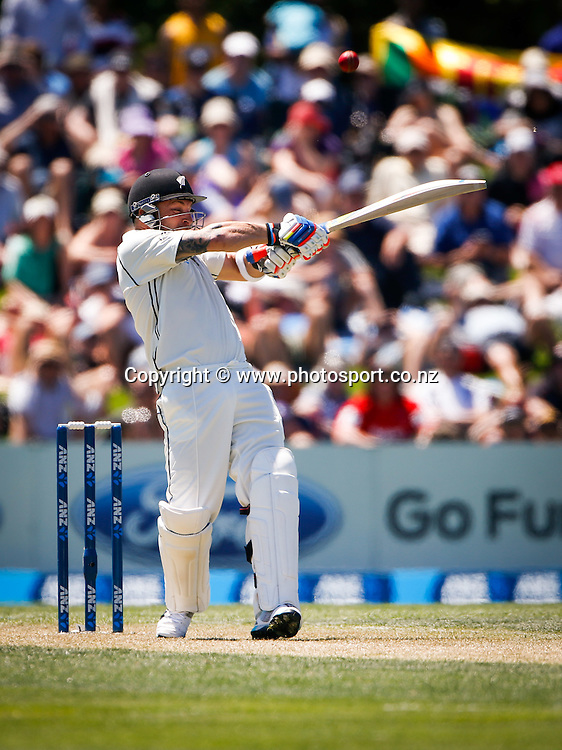 Brendon McCullum plays a shot. First day, ANZ Boxing Day Cricket Test, New Zealand Black Caps v Sri Lanka, 26 December 2014, Hagley Oval, Christchurch, New Zealand. Photo: John Cowpland / photosport.co.nz