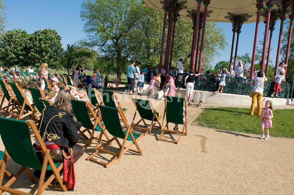Refurbished bandstand; Clapham Common; South London UK