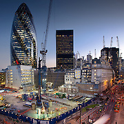 Development project in the city of London with Gherkin in Background. Stitched image shot on Canon 5d MKii with 24mm TSL lens,<br /> f16 - 1.6 seconds