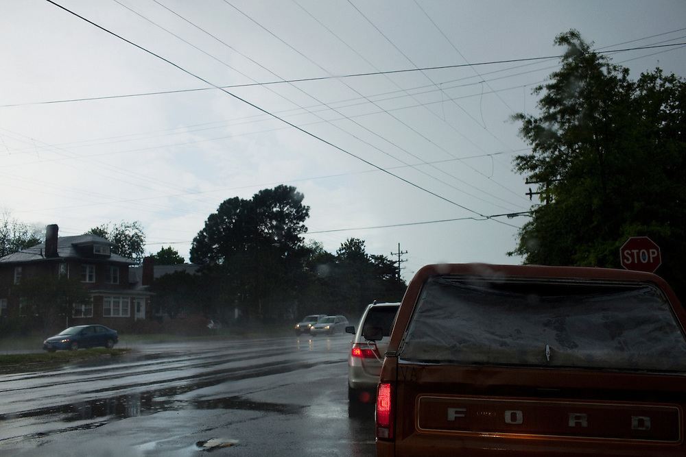 Traffic on Hampton Boulevard in Norfolk, Virginia on the rainy afternoon of Tuesday, April 26, 2011.