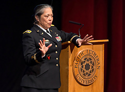 "Lt. Col. Celia FlorCruz speaks about sexual assault as part of the Spring Spotlight Series ""and Justice for All"" at PLU on Tuesday, Feb. 17, 2015. (Photo/John Froschauer)"