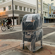 SEPTEMBER 9, 2017--MIAMI--FLORIDA<br /> U.S. Post Office box protected with plastic in downtown Miami Saturday morning.<br /> (Photo by Angel Valentin)