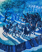 Blue painting of a speeding cart and teams of horses