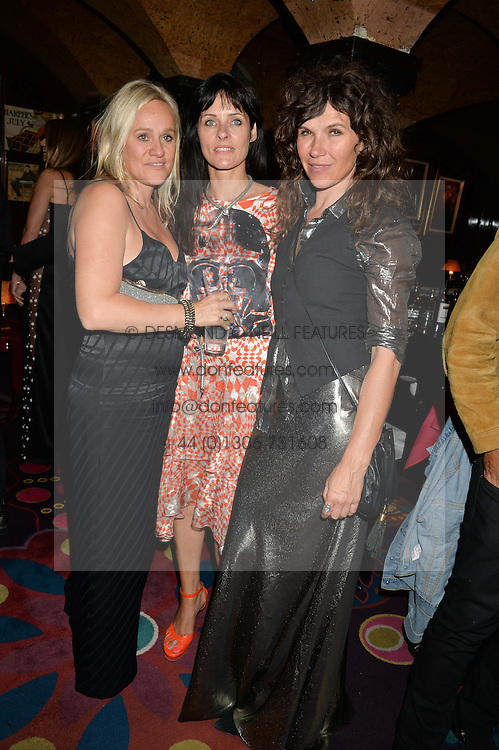 Left to right, OLIVIA 'BUBBLE' PERRY, JULIETTE LARTHE and JESS MORRIS at a dinner to celebrate the launch of Genetic - Liberty Ross hosted by Liberty Ross and Ali Fatourechi at Annabel's, 44 Berkeley Square, London on 3rd September 2014.