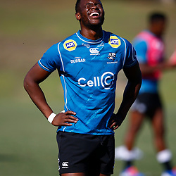 Aphelele Fassi of the Cell C Sharks during the Cell C Sharks  training session from theBox Hill Rugby Union Football Club  RHL Sparks Reserve, Canterbury Rd & Middleborough Road, Box Hill VIC 3128. Melbourne,Australia 17 February 2020. (Photo Steve Haag Sports -Hollywoodbets)
