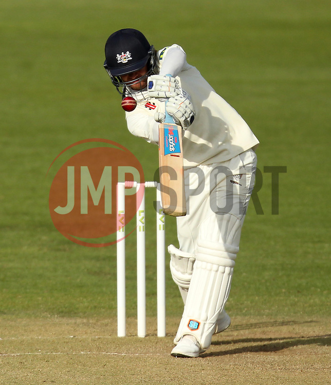 Gloucestershire's Hamish Marshall tries to lift the ball over the top - Photo mandatory by-line: Robbie Stephenson/JMP - Mobile: 07966 386802 - 28/04/2015 - SPORT - Cricket - Bristol - The County Ground - Gloucestershire v Derbyshire - County Championship Division Two