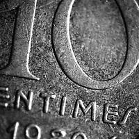 Macro d'une piece de 10 centimes, 1998