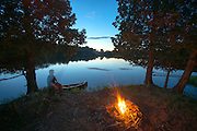 Canoe camping on Charleston Pond, West Charleston, Vermont along the Northern Forest Canoe Trail.