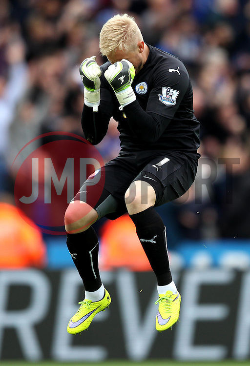Leicester City's Kasper Schmeichel celebrates his sides second goal - Photo mandatory by-line: Robbie Stephenson/JMP - Mobile: 07966 386802 - 09/05/2015 - SPORT - Football - Leicester - King Power Stadium - Leicester City v Southampton - Barclays Premier League