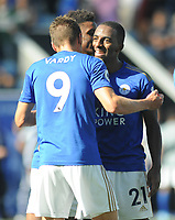Football - 2019 / 2020 Premier League - Leicester City vs. Tottenham Hotspur<br /> <br /> Leicester goalscorer, Ricardo Pereira celebrates with Jamie Vardy at the final whistle at The King Power Stadium.<br /> <br /> COLORSPORT/ANDREW COWIE