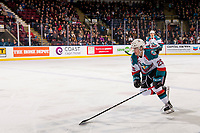 KELOWNA, CANADA - DECEMBER 29: Kyle Crosbie #25 of the Kelowna Rockets skates against the Kamloops Blazers  on December 29, 2018 at Prospera Place in Kelowna, British Columbia, Canada.  (Photo by Marissa Baecker/Shoot the Breeze)