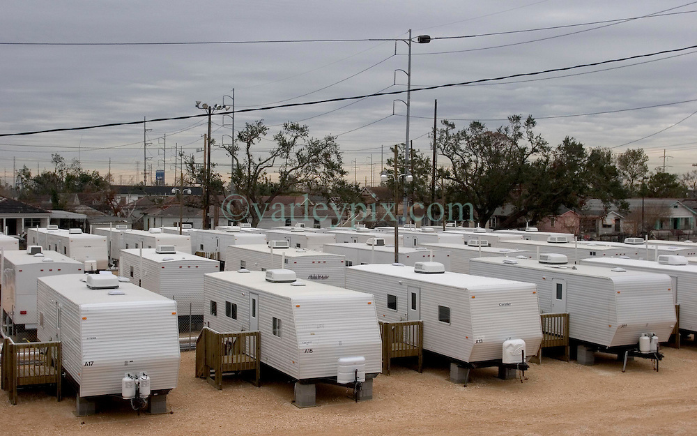 10 December, 05. New Orleans, Louisiana. Post Katrina aftermath.<br />  3 1/2 months after the storm, an empty FEMA trailer park sits on what was once a baseball field in the Gentilly neighbourhood.<br /> Photo; ©Charlie Varley/varleypix.com