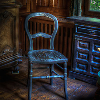 Hotel S in the Black Forest with old blue wooden chair