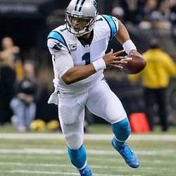 Dec 6, 2015; New Orleans, LA, USA; Carolina Panthers quarterback Cam Newton (1) against the New Orleans Saints during the first half of a game at Mercedes-Benz Superdome. Mandatory Credit: Derick E. Hingle-USA TODAY Sports