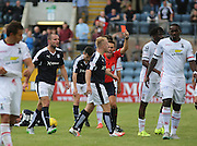 Referee Andrew Dallas red cards -Inverness&rsquo; Andrea Mbuyi-Mutombo  (second right) - Dundee v Inverness Caledonian Thistle in the Ladbrokes Premiership at Dens Park<br /> <br />  - &copy; David Young - www.davidyoungphoto.co.uk - email: davidyoungphoto@gmail.com