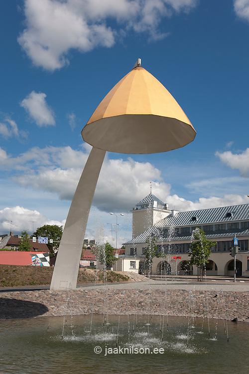 Rakvere town square with fountain and contemporary big lamp in Estonia