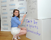 "Actress Maisie Williams confronts limitations applied to girls by writing ""Girls shouldn't get Muddy!"" at the Always #LikeAGirl Confidence Summit, where their newest video was unveiled, Tuesday, July 7, 2015, in New York. The #LikeAGirl campaign wants girls to stay confident at puberty and beyond and feel unstoppable by smashing limitations that hold them back.   View the new video at https://youtu.be/VhB3l1gCz2E.  (Photo by Diane Bondareff/AP Images for Always)"
