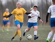 FODBOLD: Carina Vergmann (Ølstykke FC) under kampen i Sjællandsserien mellem Ølstykke FC og Herlufsholm GF den 12. april 2018 på Ølstykke Stadion (kunstgræs). Foto: Claus Birch.