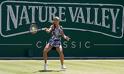 Ukraine's Lesia Tsurenko in action during her quarter final against Czech Republic's Barbora Strycova during day five of the Nature Valley Classic at Edgbaston Priory, Birmingham.