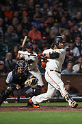 San Francisco Giants shortstop Brandon Crawford (35) swings at a pitch against the Pittsburgh Pirates at AT&T Park in San Francisco, California, on July 25, 2017. (Stan Olszewski/Special to S.F. Examiner)