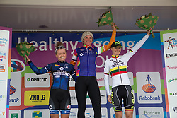 Chantal Blaak (NED) of Boels-Dolmans Cycling Team celebrates winning Stage 4 of the Healthy Ageing Tour - a 126.6 km road race, starting and finishing in Finsterwolde on April 8, 2017, in Groeningen, Netherlands.