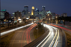 Minneapolis, Minnesota skyline at dusk from above I-35W