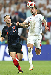 MOSCOW, July 11, 2018  Kyle Walker (R) of England vies with Ivan Rakitic of Croatia during the 2018 FIFA World Cup semi-final match between England and Croatia in Moscow, Russia, July 11, 2018. Croatia won 2-1 and advanced to the final. (Credit Image: © Cao Can/Xinhua via ZUMA Wire)