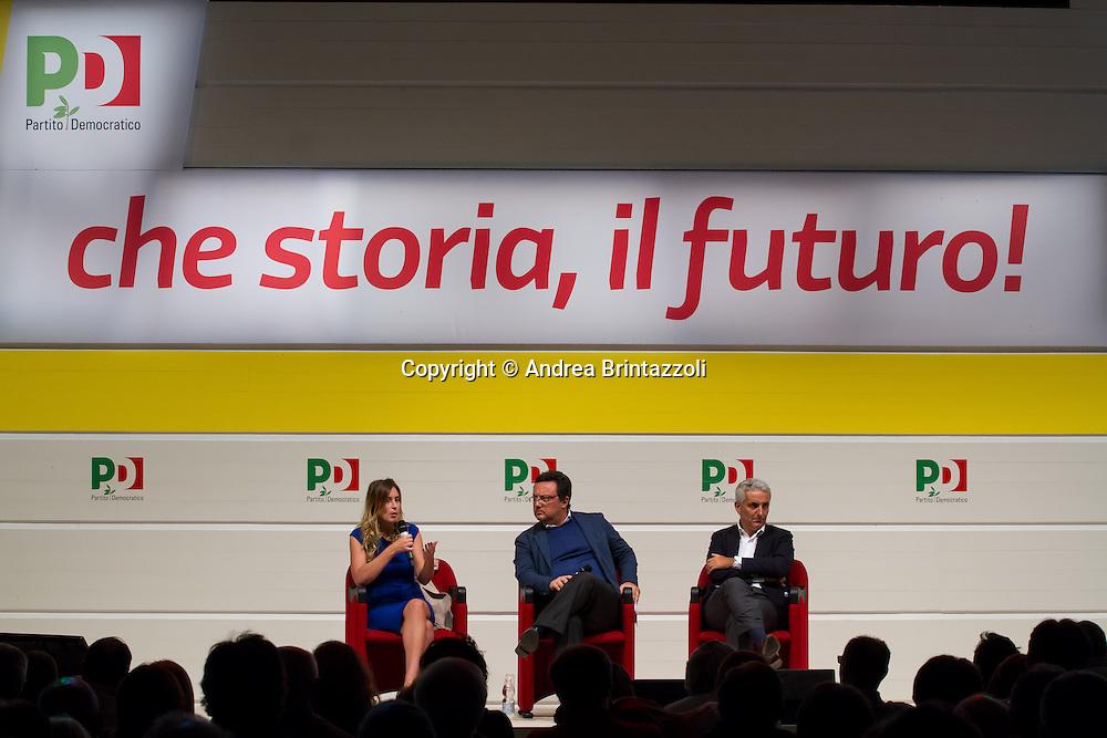 Bologna 01 Settembre 2014 - Festa dell'Unità - Mille giorni per il Futuro. Dibattito: Le riforme che servono. Nella foto Maria Elena Boschi, Mario orfeo, Gaetano Quagliariello