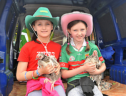 Chicken's for Sale.....Maeve Feeney and Aishling Smith were pictured with enjoying the Murrisk Pattern day on sunday last.<br /> Pic Conor McKeown