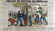 Departure and Return of a Conscript.  19th century  popular French hand-coloured woodcut.