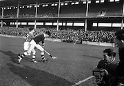 24/02/1963<br /> 02/24/1963<br /> 24 February 1963<br /> Railway Cup Semi-Final: Leinster v Connacht at Croke Park, Dublin.<br /> T. Conway (Connacht) battles with Leinster's, D. Heaslip near the Connacht goal.