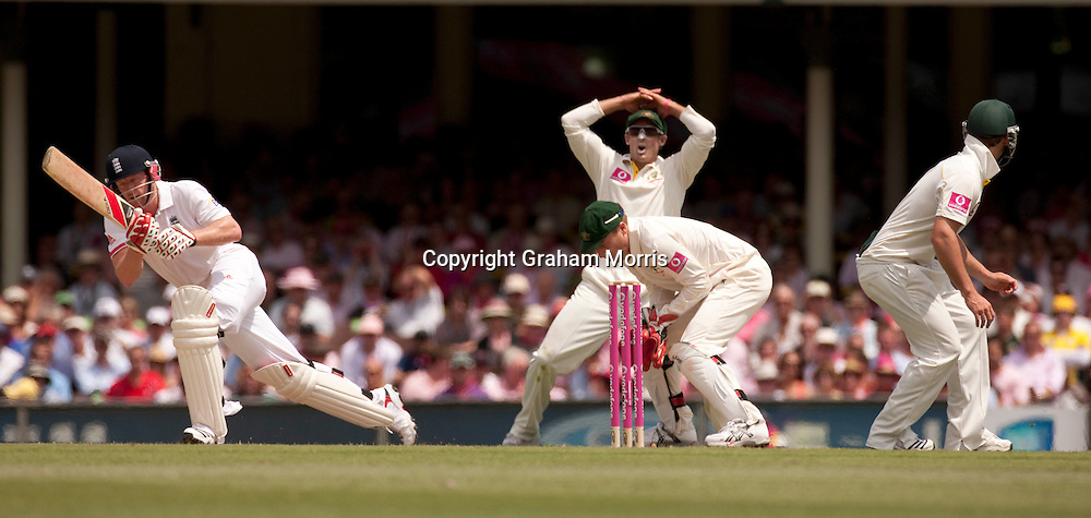An out of touch Paul Collingwood misses a ball off the bowling of Michael Beer during the fifth and final Ashes test match between Australia and England at the SCG in Sydney, Australia. Photo: Graham Morris (Tel: +44(0)20 8969 4192 Email: sales@cricketpix.com) 05/01/11