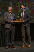 KELOWNA, CANADA - MARCH 19:  Scholastic Award presented to Konrad Belcourt by Dr. Mike Bobyn at the Kelowna Rockets Awards Ceremony on March 19, 2017 at the Kelowna Community Theater in Kelowna, British Columbia, Canada.  (Photo By Cindy Rogers/Nyasa Photography,  *** Local Caption ***