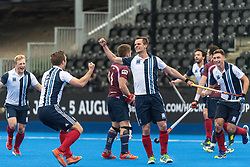 Hampstead & Westminster's Sam French celebrates scoring. Wimbledon v Hampstead & Westminster - Men's Hockey League Finals, Lee Valley Hockey & Tennis Centre, London, UK on 28 April 2018. Photo: Simon Parker