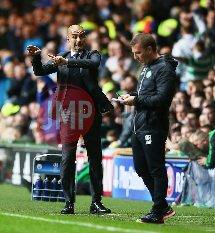 Manchester City manager Pep Guardiola gestures ahead of Celtic manager Brendan Rodgers - Mandatory by-line: Matt McNulty/JMP - 28/09/2016 - FOOTBALL - Celtic Park - Glasgow, England - Celtic v Manchester City - UEFA Champions League