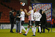 Sheffield United defender Jack O'Connell (5) applauds the fans at full time during the EFL Sky Bet Championship match between Sheffield United and West Bromwich Albion at Bramall Lane, Sheffield, England on 14 December 2018.