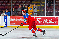KELOWNA, BC - DECEMBER 18:  Artem Nikolaev #25 of Team Russia warms up against the Team Sweden at Prospera Place on December 18, 2018 in Kelowna, Canada. (Photo by Marissa Baecker/Getty Images)***Local Caption***