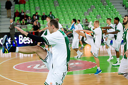 Damir Markota of Union Olimpija at warming up during basketball match between KK Union Olimpija and Montepaschi Siena (ITA) of 7th Round in Group D of Regular season of Euroleague 2011/2012 on December 1, 2011, in Arena Stozice, Ljubljana, Slovenia. (Photo by Vid Ponikvar / Sportida)