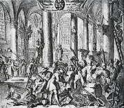 1672-1674. In 1672 when the French had taken possession of Utrecht, the cathedral was again brought into use for the Catholics worship.  The church was rededicated new icons were brought in, while Protestant Bibles, collection bags,, chairs, etc. were burned