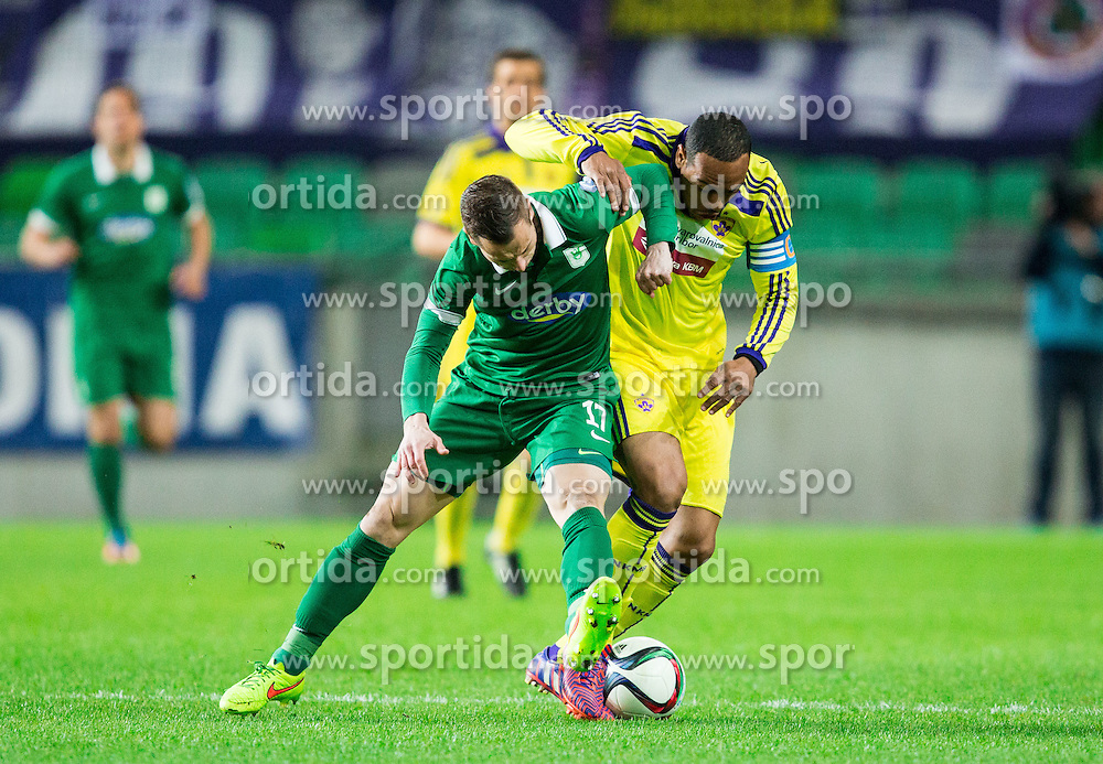 Matic Fink #17 of Olimpija vs Marcos Tavares #9 of Maribor during football match between NK Olimpija Ljubljana and NK Maribor in Round #26 of Prva liga Telekom Slovenije 2014/15, on April 8, 2015 in SRC Stozice, Ljubljana, Slovenia. Photo by Vid Ponikvar / Sportida