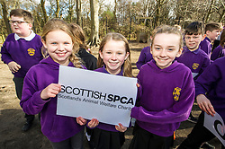 "Pictured; Kayla McKinlay; Eloise Scott and Ella Davis (all aged 9)<br /> The Scottish SPPA launched the education programme at Buckstone Primary School in Edinburgh today. The animal welfare charity's head of education and policy Gilly Mendes Ferreira and Dr Jo Williams, senior lecturer in clinical and health psychology, came along to start the programme at the school. P1 girls held a ""dress up as your favourite animal day"" on Friday and raised £417.50which was presented a cheque to Lee Williams, Education Officer, of the Scottish SPCA.  Isla Wilkie and the boys found a pigeon in the playground trapped between the fence and a neighbours fence. They called the Scottish SPCA (Isla did) as they remembered the phone number from a recent education visit by Scottish SPCA.<br /> <br /> Ger Harley 