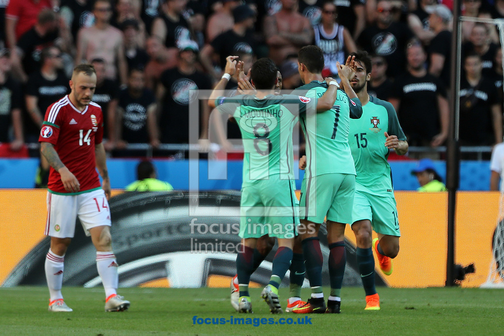Nani of Portugal celebrates scoring his sides 1st goal during the UEFA Euro 2016 match at Stade de Lyons, Lyons<br /> Picture by Paul Chesterton/Focus Images Ltd +44 7904 640267<br /> 22/06/2016
