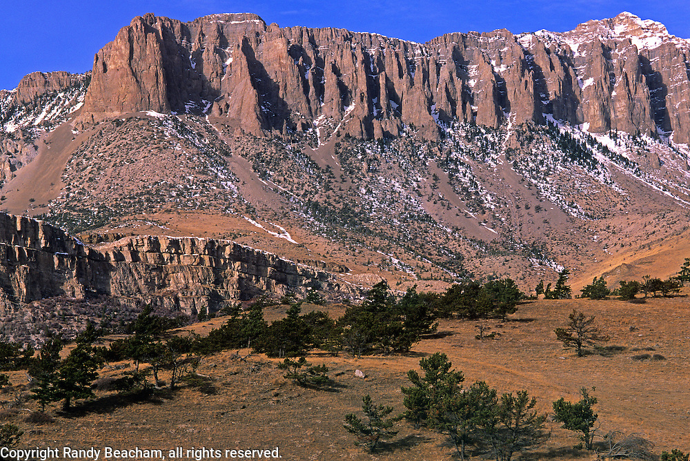 Castle Reef and the foothills of the Rocky Mountain Front. West of Augusta, Montana