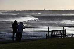 Licensed to London News Pictures. 23/12/2012. Whitley Bay, North Tyneside, UK.  Winds gusting up to 45mph whip up the sea at St Mary's Island, Whitley Bay, . Photo credit: Adrian Don/LNP
