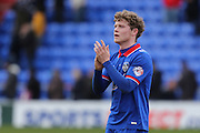 Matt Palmer of Oldham Athletic applauds the fans at the end of the Sky Bet League 1 match between Oldham Athletic and Chesterfield at Boundary Park, Oldham, England on 28 March 2016. Photo by Simon Brady.