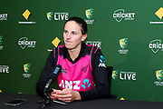A disappointed looking Amy Satterthwaite at the post match press conference after the White Ferns lose to Australia. Women's T20 international Cricket, Australia v New Zealand White Ferns.  Manuka Oval, Canberra, 5 October 2018. Copyright Image: David Neilson / www.photosport.nz