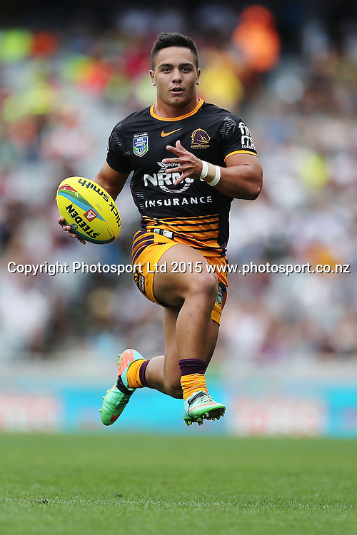 Kodi Nikorima of the Broncos in action during Day 2 of the NRL Auckland Nines Rugby League Tournament, Eden Park, Auckland, New Zealand. Sunday 1 February 2015. Copyright Photo: Anthony Au-Yeung / www.photosport.co.nz