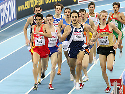 Diego Ruiz of Spain, Goran Nava of Serbia and Wolfram Muller of Germany in the first group in the qualification race at 1500m men at the 2nd day of  European Athletics Indoor Championships Torino 2009 (6th - 8th March), at Oval Lingotto Stadium,  Torino, Italy, on March 6, 2009. (Photo by Vid Ponikvar / Sportida)